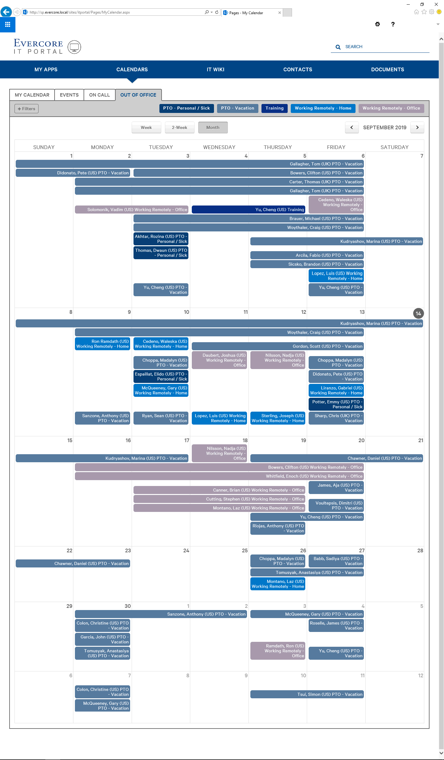 Final IT Portal with Out of Office Calendar in Blue Color Variations